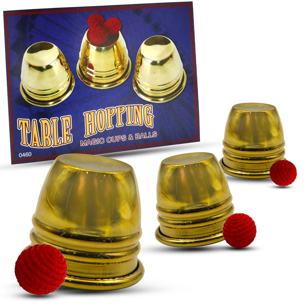Table Hopping Cups and Balls (Brass) (Mini Becherspiel)