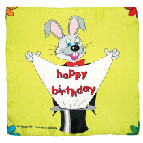 "Happy birthday silk - 60 cm (24"") - rot und gelb"