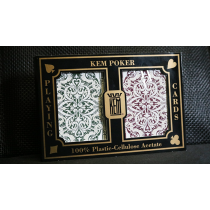 KEM Poker Plastic Playing Cards Jacquard (Purple and Green 2 Deck Set Standard Index) - Trick