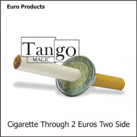 Cigarette through 2 Euro two sides